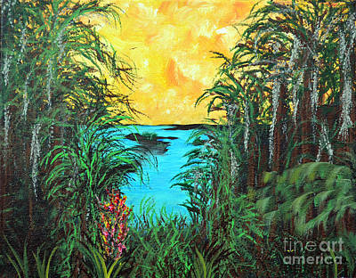 Art Print featuring the painting Panther Island In The Bayou by Alys Caviness-Gober