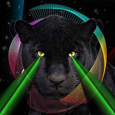 Geometric Animal Digital Art - Panther by Mark Ashkenazi