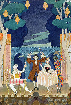 Ballerina Dancing Painting - Pantomime Stage by Georges Barbier