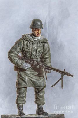 Youth Digital Art - Panzer Grenadier With Machine Gun by Randy Steele