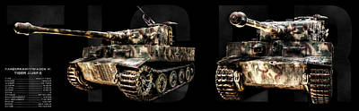 Photograph - Panzer Tiger I Front And Side Bk Bg by Weston Westmoreland