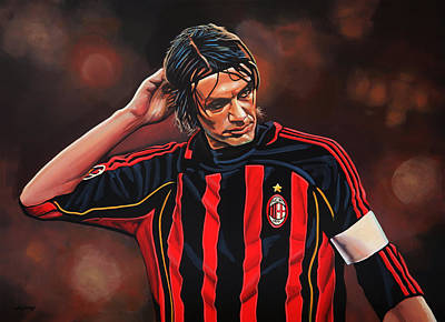 League Painting - Paolo Maldini by Paul Meijering