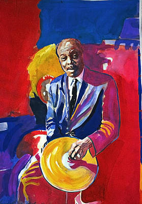 Music Legends Painting - Papa Jo Jones  by David Lloyd Glover