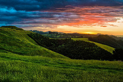 Papamoa Hills Sunset II. Art Print by Pavel Blahnik