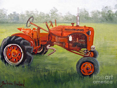 Papa's Red Tractor Art Print