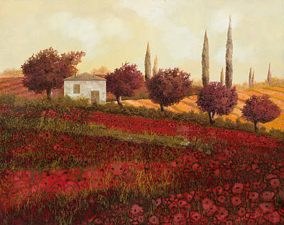 Red Tree Painting - Papaveri In Toscana by Guido Borelli