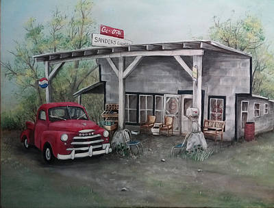 Dodge Truck Painting - Papaw's Store by Sherry Cooper