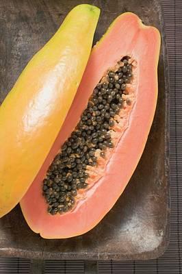 Papaya, Halved, In Wooden Bowl Art Print