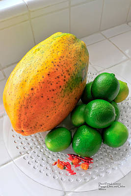 Photograph - Papaya - Limes And Chilies - Basic Fruit Of Mexico - Travel Photography By David Perry Lawrence by David Perry Lawrence