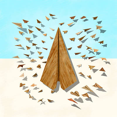 Digital Art - Paper Airplanes Of Wood 10 by YoPedro