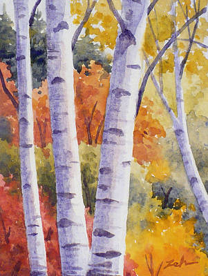 Painting - Paper Birches In Autumn by Janet Zeh