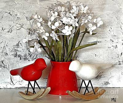 Rocking Digital Art - Paper Bouquet And Rocking Birds by Marsha Heiken