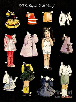 Black Background Painting - Paper Doll Amy by Marilyn Smith