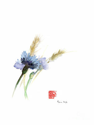 Japanese-ink- Color Painting - Paper Field Cornflower Cornflowers Blue Yellow Green Watercolor Painting by Johana Szmerdt