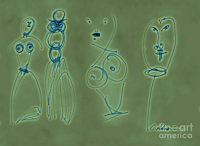 Paper Graffiti.  Allure And Temptation Wire On Green Art Print by Cathy Peterson