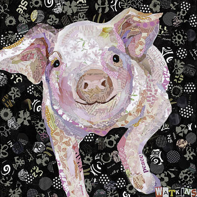 Piglets Mixed Media - Paper Pig by Beth Watkins