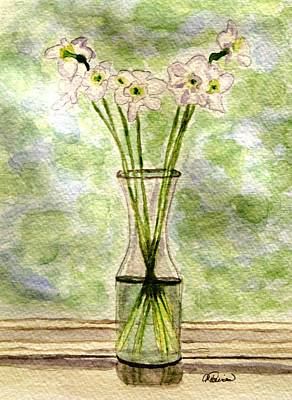 Paper Whites In Sunlight Art Print by Angela Davies