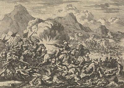 Resurrecting Drawing - Pappenheim Beats The Resurrected Farmers In Austria by Jan Luyken And Pieter Van Der Aa (i)