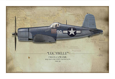 Side View Painting - Pappy Boyington F4u Corsair - Map Background by Craig Tinder