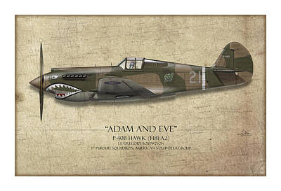 Beige Painting - Pappy Boyington P-40 Warhawk - Map Background by Craig Tinder