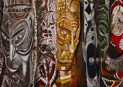 Oil Painting - Papua New Guinea Masks by Carol Tsiatsios