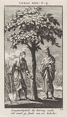 Parable Drawing - Parable Of The Barren Fig Tree, Jan Luyken by Jan Luyken And Wed. Pieter Arentsz & Cornelis Van Der Sys (ii)