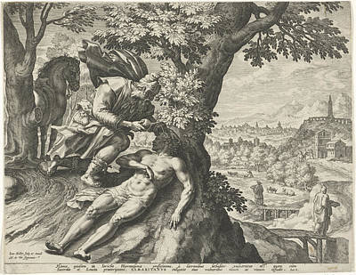 Parable Drawing - Parable Of The Good Samaritan, Johann Sadeler by Quint Lox