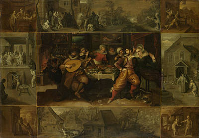 Parable Drawing - Parable Of The Prodigal Son, Frans Francken by Litz Collection
