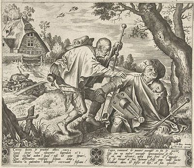 Parable Drawing - Parable Of The Two Blind, Pieter Van Der Heyden by Pieter Van Der Heyden And Hieronymus Cock