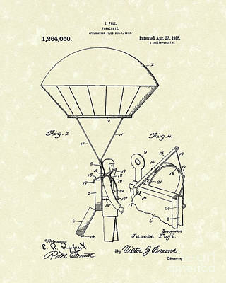 Drawing - Parachute 1918 Patent Art  by Prior Art Design