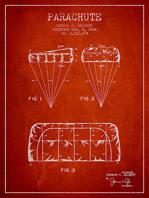 Parachute Design Patent From 1964 - Red Art Print by Aged Pixel