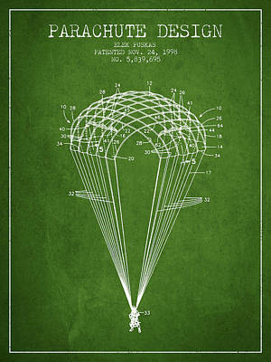 Skydiving Digital Art - Parachute Design Patent From 1998 - Green by Aged Pixel