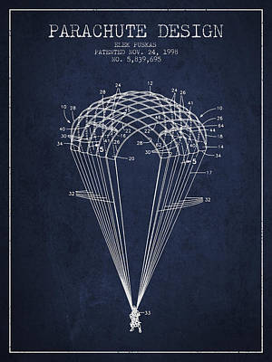 Parachute Design Patent From 1998 - Navy Blue Art Print by Aged Pixel