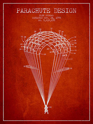Parachute Design Patent From 1998 - Red Art Print by Aged Pixel