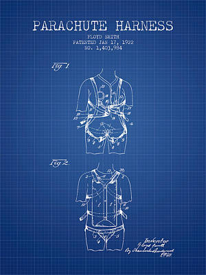 Parachute Harness Patent From 1922 - Blueprint Art Print by Aged Pixel