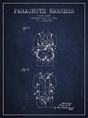 Parachute Digital Art - Parachute Harness Patent From 1922 - Navy Blue by Aged Pixel