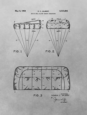Drawing - Parachute Patent Drawing by Dan Sproul