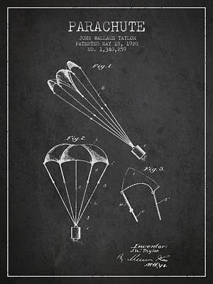 Skydiving Digital Art - Parachute Patent From 1920 - Charcoal by Aged Pixel