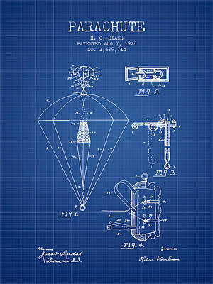 Skydiving Digital Art - Parachute Patent From 1928 - Blueprint by Aged Pixel
