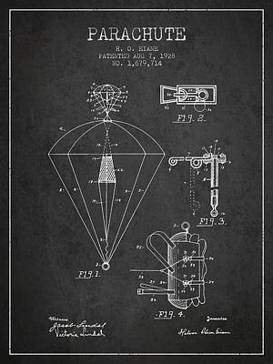 Parachute Patent From 1928 - Charcoal Art Print by Aged Pixel