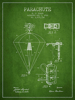 Parachute Digital Art - Parachute Patent From 1928 - Green by Aged Pixel