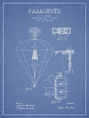 Skydiving Digital Art - Parachute Patent From 1928 - Light Blue by Aged Pixel