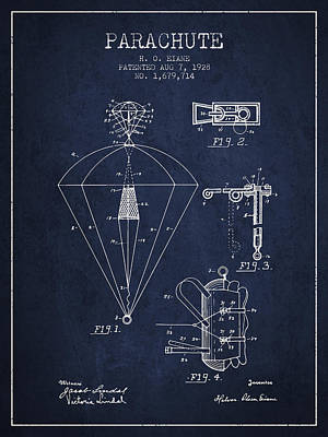 Skydiving Digital Art - Parachute Patent From 1928 - Navy Blue by Aged Pixel