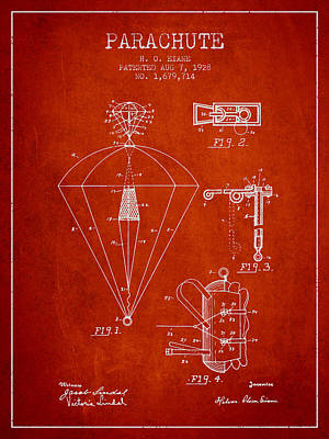 Skydiving Digital Art - Parachute Patent From 1928 - Red by Aged Pixel