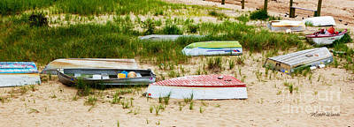 Shoreline Painting - Parade Of Colorful Boats by Michelle Wiarda
