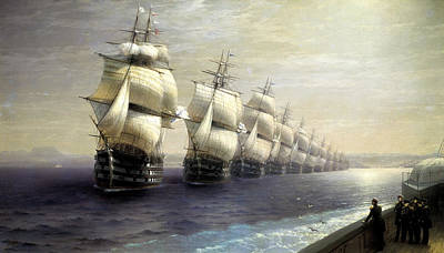 Fleet Painting - Parade Of The Black Sea Fleet In 1849 by Ivan Konstantinovich Aivazovsky
