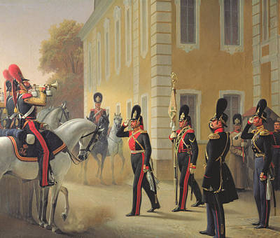 Trumpet Painting - Parading Of The Standard Of The Great Palace Guards by Adolph Gebens