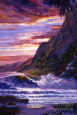 Ocean Sunset Painting - Paradise Beach by David Lloyd Glover