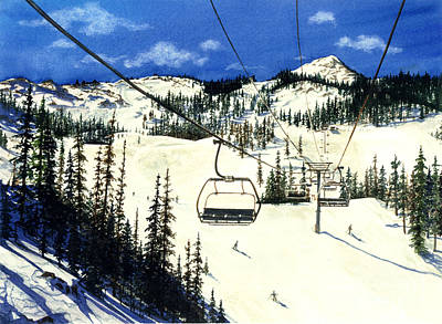 Ski Painting - Paradise Bowl by Barbara Jewell