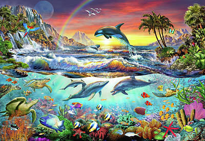 Dolphins Drawing - Paradise Cove by Adrian Chesterman